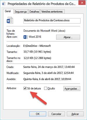 Desmarque a caixa Só de Leitura para editar e guardar o seu ficheiro.