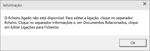 Mostra o erro de ficheiro ligado no PowerPoint