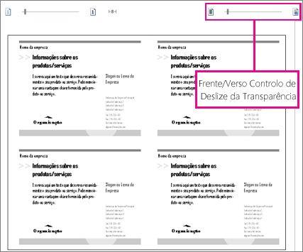 Controlo de deslize pré-visualizar para ver frente e verso da publicação, para que possa ver se estão corretamente alinhados.