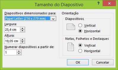 Pode configurar as definições dos seus diapositivos na caixa de diálogo Tamanho do Diapositivo.