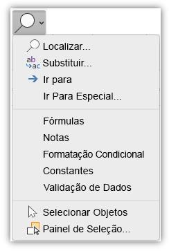Captura de ecrã a mostrar o menu Localizar e Selecionar que foi adicionado ao separador Base do friso.