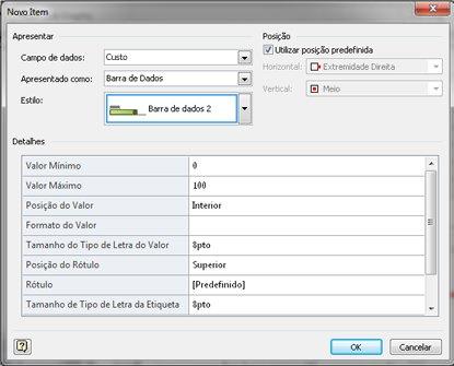 A caixa de diálogo Novo Item com Barra de Dados seleccionada.