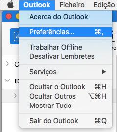 Menu do Outlook com a opção Preferências realçada