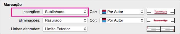 Na caixa Registar Alterações, as Inserções Tipo de Marcação estão realçadas.