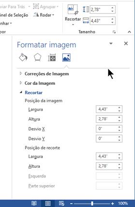 Painel Formatar imagem, ancorada no lado direito da janela no Word