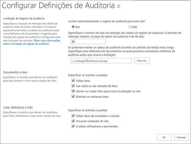 Ecrã de definições de auditoria da coleção de site