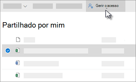 Screenshot do botão Manage Access no shared by me view in OneDrive for Business