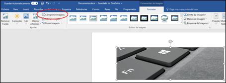 Botão Comprimir Imagem no grupo Ajustar no separador Formatar das Ferramentas de Imagem