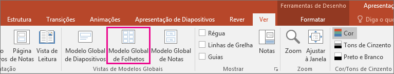 Mostra a Vista Modelo global de folhetos no PowerPoint