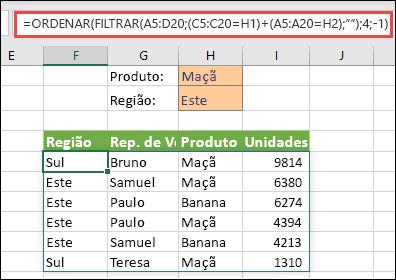 FILTRAR e ORDENAR em conjunto - Filtrar por Produto (Maçãs) OU por Região (Este).