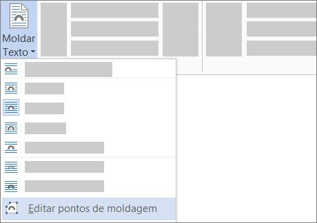 A opção Editar Pontos de Moldagem de Moldar Texto no friso