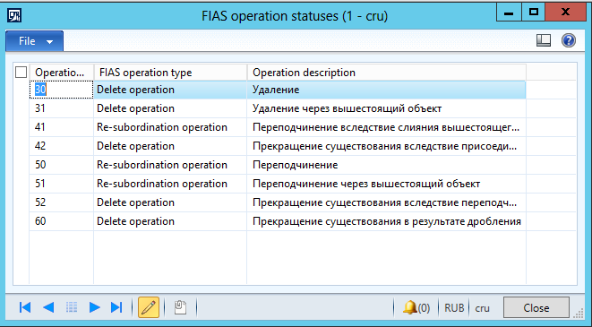 FIAS operation for deletion