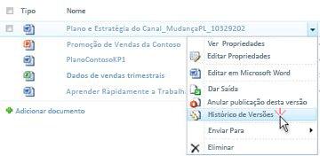 Lista pendente de um ficheiro do SharePoint. A opção Histórico de Versões está seleccionada.