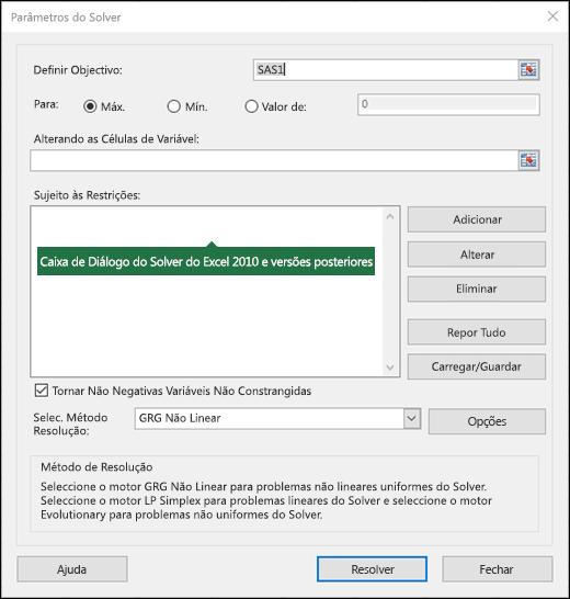 Imagem da caixa de diálogo do Excel 2010 + Solver