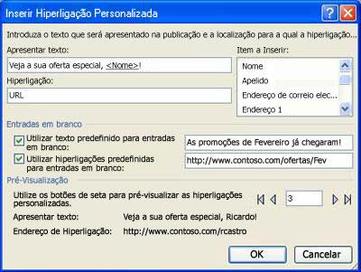 Imagem da caixa de diálogo Inserir Hiperligação Personalizada