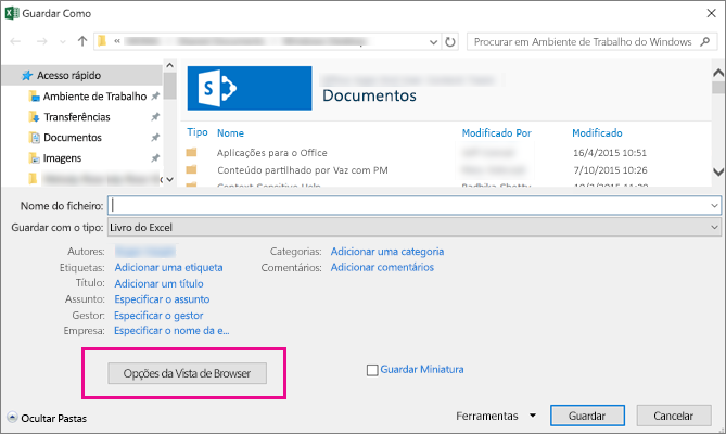 Na caixa de diálogo Guardar Como, clique em Opções da Vista de Browser