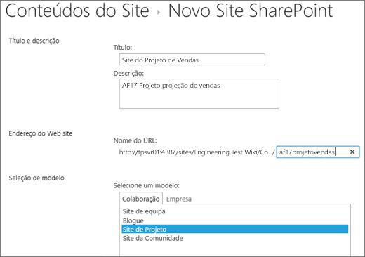 Ecrã de criação de Subsite do SharePoint 2016