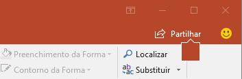 O botão Partilhar no friso do PowerPoint 2016