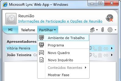 Menu Partilhar no Lync Web App