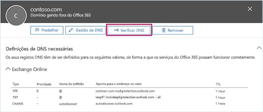 Captura de ecrã a mostrar a página Definições de DNS necessárias e o foco no botão Verificar DNS.
