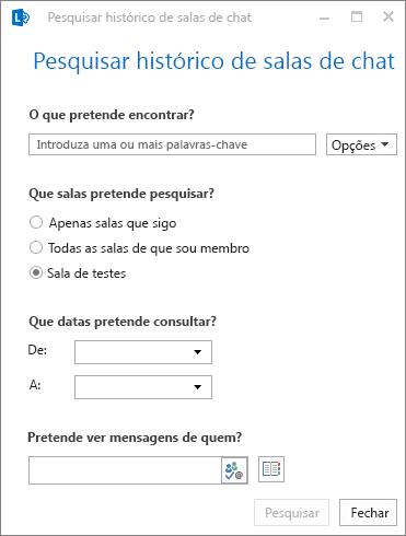 Captura de ecrã da caixa de diálogo para pesqusiar o histórico das salas de chat