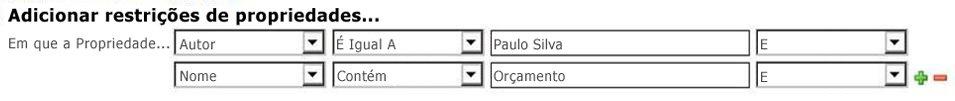 seleccionar propriedades e operadores nas opções pendentes