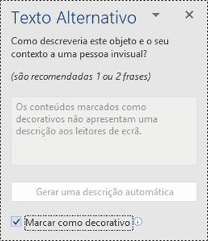 Painel de texto alt com a marca como opção decorativa selecionada no Word for Windows.