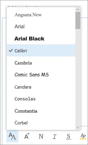Alterar tipo de letra no Outlook na Web.