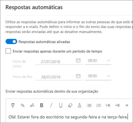 Criar uma resposta automática no Outlook na Web