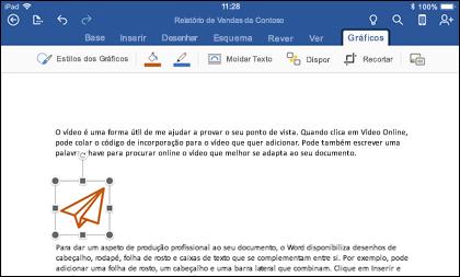 Palavra para iOS mostrando o separador de edição de Gráficos