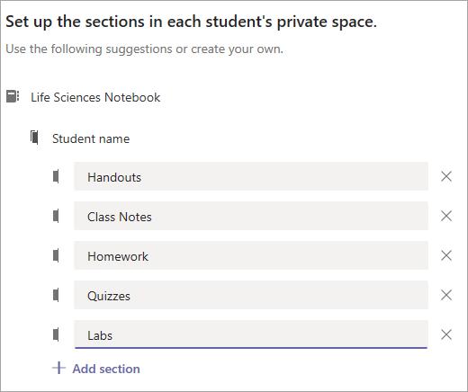 Configure as secções no espaço privado de cada estudante.