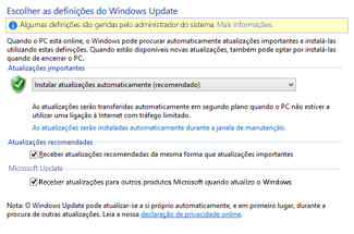 Definições do Windows Update no Painel de Controlo do Windows 8