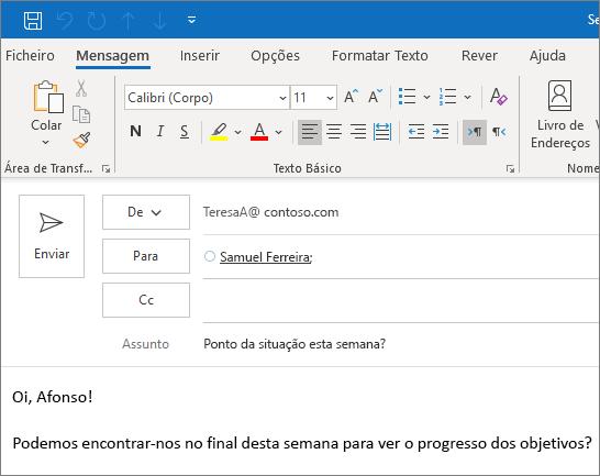 Criar e enviar um e-mail