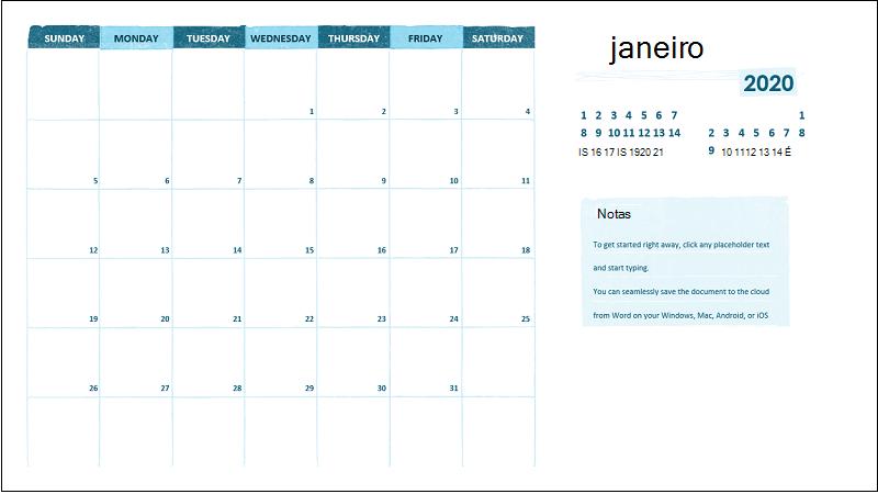 Um calendário académico mensal