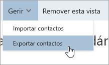 Uma captura de écran da opção Exportar contatos no menu Gerir