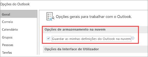 Mostra as opções de definição do Outlook