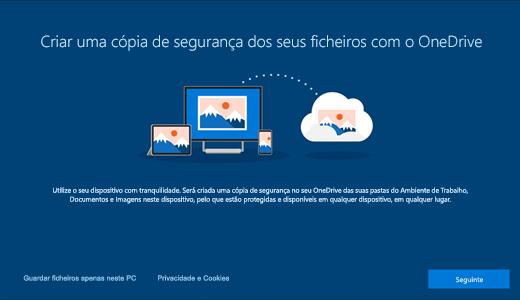Captura de ecrã da página do OneDrive que é apresentada quando utiliza o Windows 10 pela primeira vez