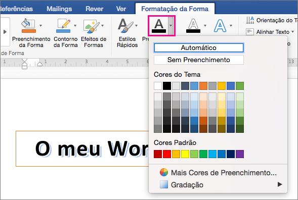 Separador Formato da Forma com a opção Preenchimento do Texto realçada.