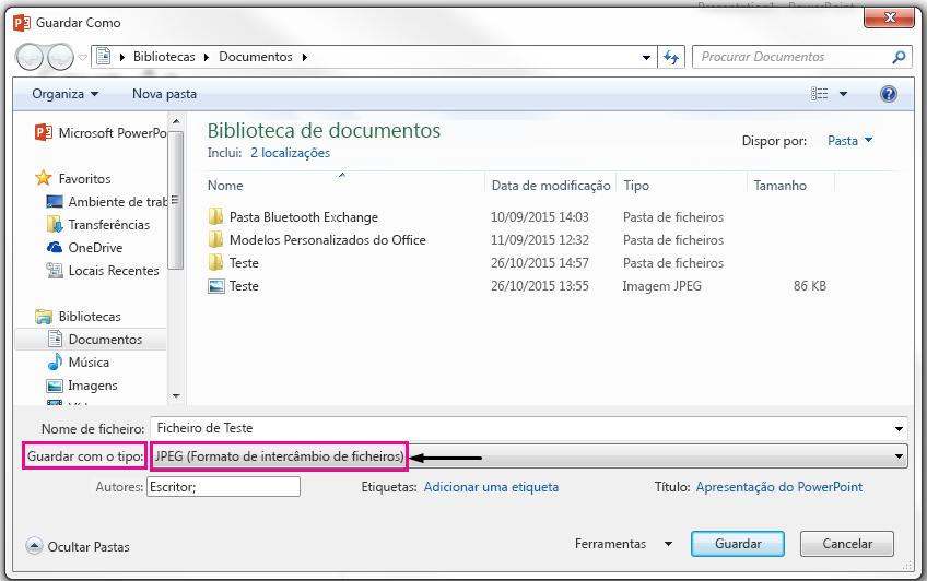 Na caixa de diálogo guardar como, identifique o tipo de ficheiro no qual pretende guardar o seu diapositivo.