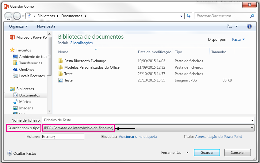 Na caixa de diálogo Guardar como, identifique o tipo de ficheiro que pretende que o seu diapositivo guardado como.
