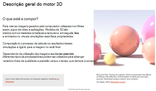 Screenshot da secção de visão geral do motor 3D das Diretrizes de Conteúdo 3D