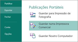 Clique em Ficheiro, Exportar para ver as opções de Publicações Portáteis.