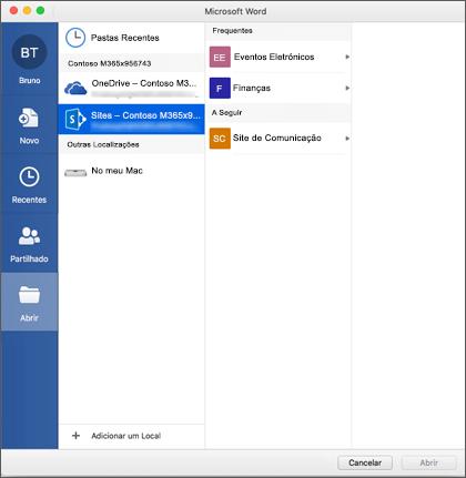 O ficheiro abrir a caixa de diálogo no Microsoft Word para Mac para o Office 365