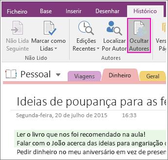 Captura de ecrã do botão Ocultar Autores no OneNote 2016.
