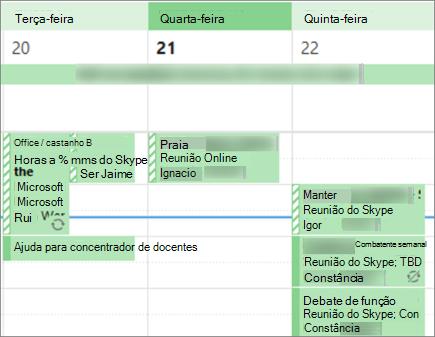 O seu calendário aspeto a um utilizador quando partilha com detalhes limitados.