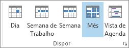 Grupo Dispor no separador Base: dia, semana, semana de trabalho, mês e agenda