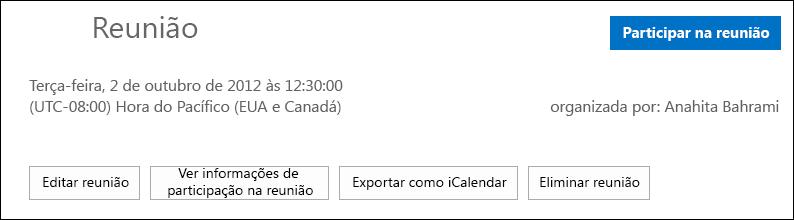 Captura de ecrã da caixa Reunião com opção para exportar como iCalendar