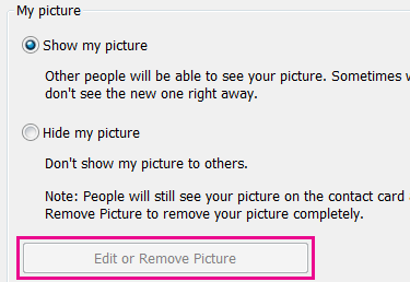 Captura de ecrã do botão editar ou alterar imagem esbatido e realçado