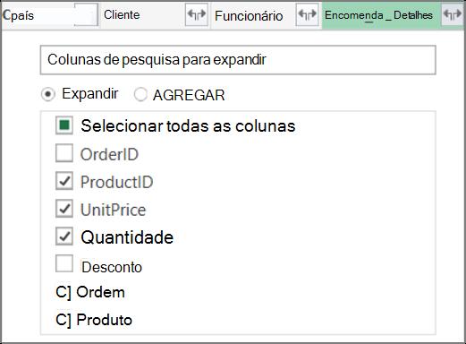 Expandir a ligação Tabela Detalhes_Encomenda