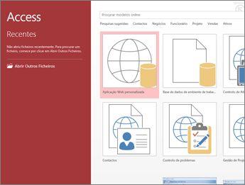 O ecrã de boas-vindas do Access a mostrar a caixa de pesquisa de modelos e os botões de Aplicação Web personalizada e de Base de dados do ambiente de trabalho em branco